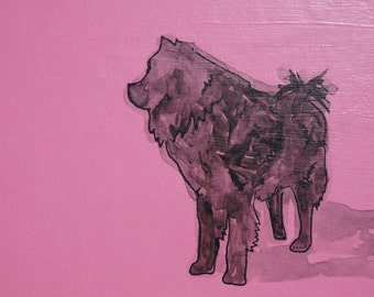 Black Chow Chow art, Chow chow painting, Chow artwork, Chow watercolor, Chow Chow dog, chow chow print, Chow chow decor, Pink chow chow art
