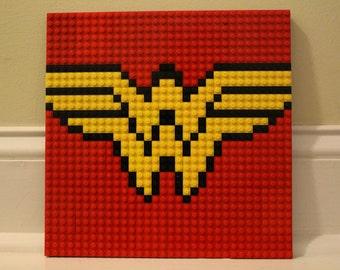 """WONDER WOMAN Lego Mosaic 10""""x10"""""""