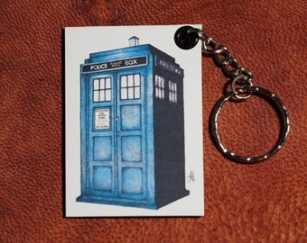 The Tardis Keychains Magnetic (Pen drawing) Handmade Doctor who keyrings