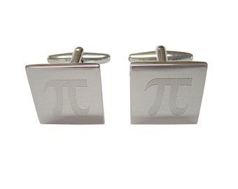 Silver Toned Etched Mathematical Pi Symbol Cufflinks