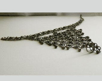 Tribal Bells Barefoot Sandal, Metal Chainmail Anklet with Toe Ring