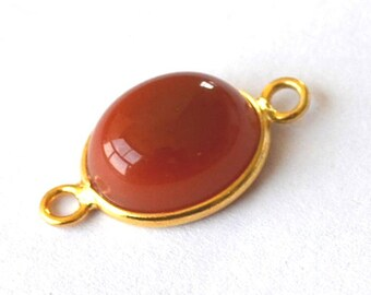 Gorgeous 1 red Onyx connector bead mounted on vermeil