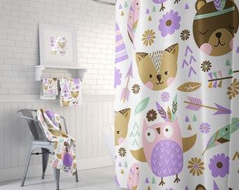 Kid's Bathroom, Childrens Decor, Purple Shower Curtain, Bathroom Decor, Shower Curtain, Bathroom Curtain, Bath Decor