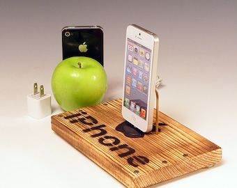 Docking station for any iPhone. INCLUDES wall charger. Rustic wood.  Crate wood. 587. FAST SHIPPING.
