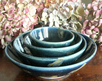 Set of four wheel thrown nesting bowls.