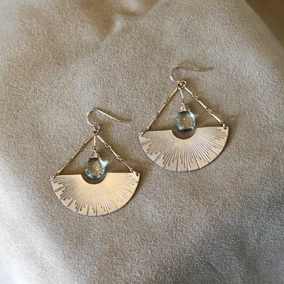 Papyrus Earrings in green amethyst