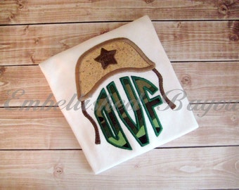 Army Helmet with Applique Circle Monogram Onesie or T-shirt for Boys or Girls