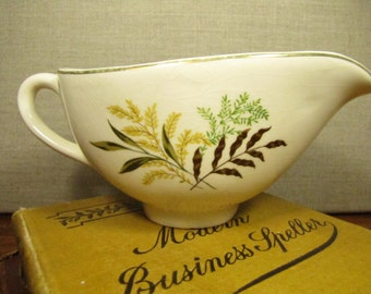 Vintage Gravy Boat - Brown, Yellow and Green Leaf Pattern - Gold Accent