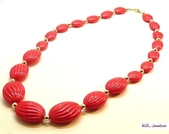 Bright Red Necklace, Vintage Red Necklace, Red Hat Society Gift,  - V20079-01