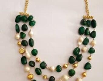 Emerald Quartz Stone and Pearl Necklace
