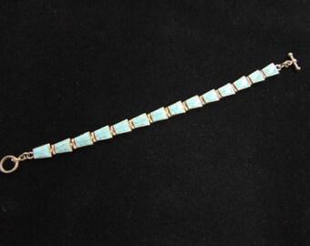 Vintage Estate Sterling Silver Southwestern Design Bracelet w/ Turquoise, 18.0g E1299