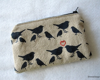 Love Birds Linen Fabric Pouch with Matching Zipper. Fully Lined. Perfect for Cosmetics, Makeup or Feminine Items or Even as Bag Insert.