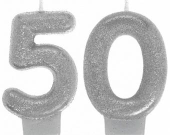 Glistening Silver Glitter 50th Birthday Candle Set - 50th Birthday Or Anniversary Celebration Cake Topper - Candles