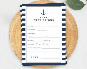 Nautical Baby Shower Games Baby Boy Prediction Cards Printable Navy Baby Shower Anchor Baby Shower Games Boy Baby Shower Games Printable NS1