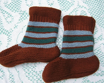 ON SALE - Beautiful Brown, Green and a Touch of Blue Socks Hand Knitted for a Baby Boy or Girl.
