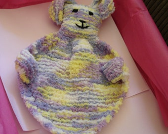 Cuddle Bunny Knitted with multi coloured Chenille Yarn