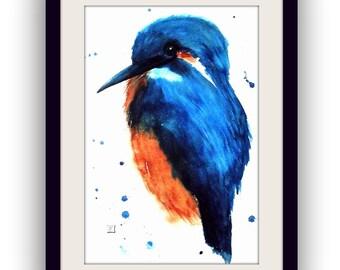 Animal Painting - original watercolour - Kingfisher - Size 41x61 cm