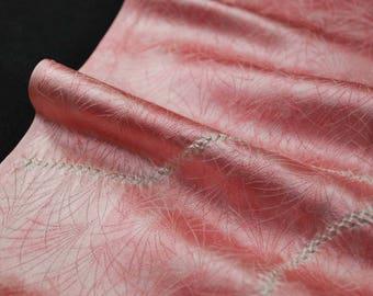 "13.7""w. x 23.3""l. Japanese vintage silk kimono fabric flower in pink shibori 3103I"