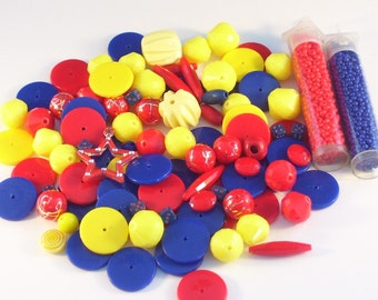 100 Assorted Red, Yellow, and Blue Opaque Beads // Primary Color Bead Assortment // Bead Destash Mix