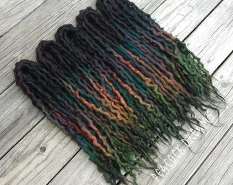 Wool Dreadlocks Earth Tones 50 Double Ended 18-20 inches {Ready to Ship} brown purple teal copper green blue