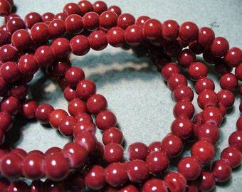 Jade Glass  Beads Dark Red  Round 6mm