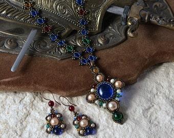 Byzantine Cross - beadwoven jewelry set