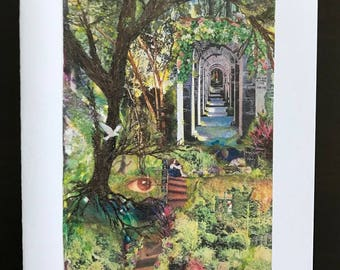 Seeking the Light is a Spiritual watercolor image that is used for all-occasion note cards, it is earthly, full of light,by Janet Dosenberry