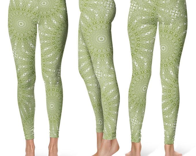 Olive Leggings Yoga Pants, Printed Yoga Tights for Women, Green and White Mandala Pattern