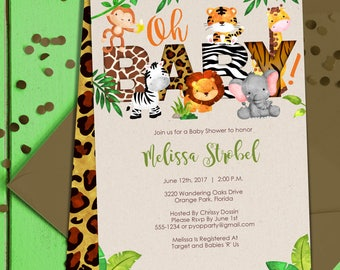 Jungle Baby Shower Invitation | Jungle Animals Invite | Safari Themed ...