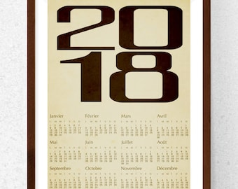 Calendar 2018, vintage, sepia, instant download, printable art, wall decor