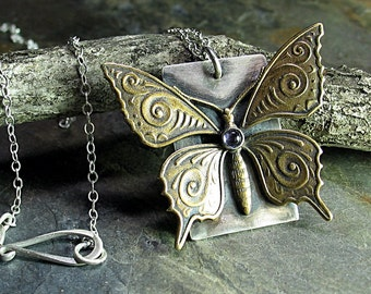 Butterfly Necklace Pendant with Iolite - Butterfly Dance