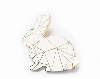 White Rabbit Brooch Pin Harlequin Bunny Enamel Geometric