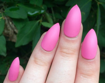 Pink nails, stiletto nails, fake nails, press on nails