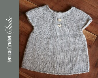 PDF Knitting PATTERN for beginners - Baby girl top. Size 9-12 months. Knitted with straight needles. Written in US terms