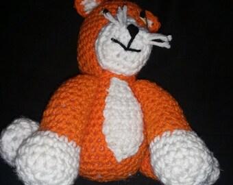 Crochet Knit CAT Stuffed Animal Kitten Plush Handmade Garfield Hobbes Style NEW