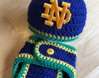 Notre Dame Baby Boy Newborn Hat and Diaper Cover Baby Shower Gift Coming Home Outfit Knit Crochet