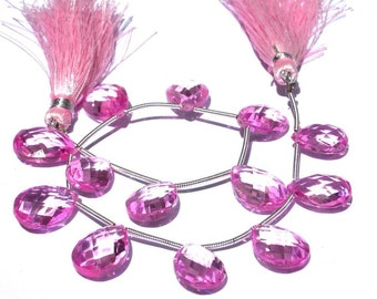 1/2 Strand - Extremely Beautiful Highly Lustrous AAA Rubelite Pink corundum Quartz Faceted Pear Briolettes Large 15x11- 13x10mm