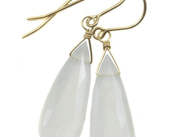 White Moonstone Earrings Sterling Silver or 14k Gold Filled Faceted Teardrop Natural High Quality Simple Dainty Drops Shimmery Iridescence