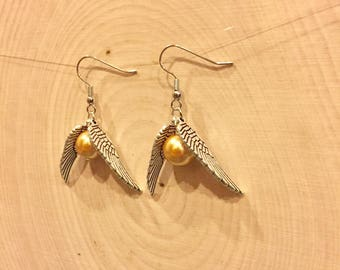Golden Snitch Earrings - Golden Snitch Sterling Silver Earrings - Golden Snitch Stainless Steel Earrings - Quidditch Earrings