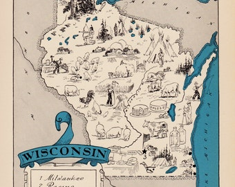 30's Vintage WISCONSIN Picture Map Pictorial State Cartoon Map Print Map Gallery Wall Art Office Decor Gift for Traveler Wanderlust Decor