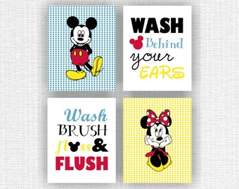 INSTANT DOWNLOAD Minnie Mouse and Mickey Mouse Disney Bathroom wall art Set of 4, 8x10, Wash Brush Floss Flush, Wash behind your ears