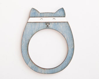 Cat Picture Frame Wooden Photo Frame Blue Fridge Magnets Blue Picture Frame Blue Children Room Decor Funny Baby Gift Nursery Décor