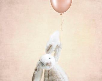 Bunny and Balloon Nursery Decor Girls Room Fine Art Photography