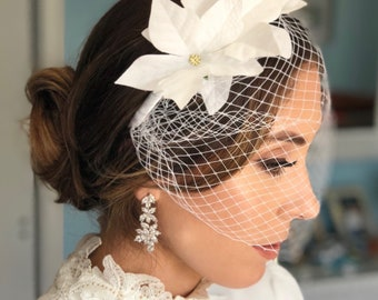 White Birdcage Veil Wedding Headband with White Flowers, Blusher Bridal Veil, Bandeau Birdcage Veil, Elegant Wedding Veil, Old Hollywood Bir