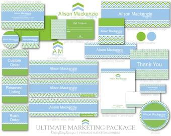 Marketing Set,Logo,Etsy Set,Facebook Timeline Cover,Business Card Templates-Chevron,Solid Colors-Green,Blue,White-Etsy Branding Package