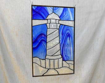 Stained Glass Panel w/ Beveled Glass Lighthouse, Stained Glass WIndow Transom  Valance, Original Home Decor, Beach Nautical or Seashore Art