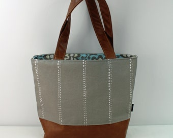 Lulu Large Tote Diaper Bag Carlo Gray with PU Leather  - READY to SHIP Shoulder Straps 6 pockets Nappy Bag