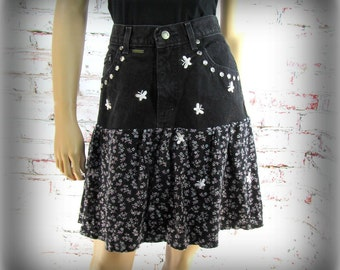 Denim skirt, Designer skirt, Black skirt, upcycled denim skirt, Size 8 skirt,    # 15