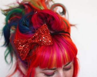 Adult Headband, Glitter Bow Hairband, Ruby Red Glitter, Other Colours Available- Black FRiday Cyber Monday