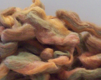 "Carded Roving ""Swanee Rose"" Superwash Merino Alpaca Bamboo 2 oz hank"